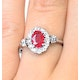 Ruby 7 x 5mm and Diamond 9K White Gold Ring - image 4