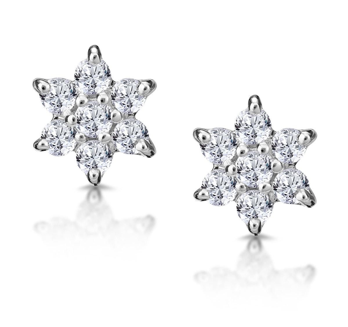 Diamond Cluster Earrings 0.30ct White Gold