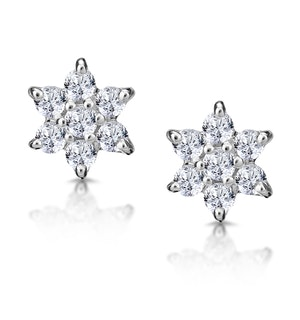 DIAMOND CLUSTER EARRINGS 0.30CT WHITE GOLD