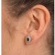 Emerald 6 x 4mm And Diamond 18K Yellow Gold Earrings  FEG25-G - image 2