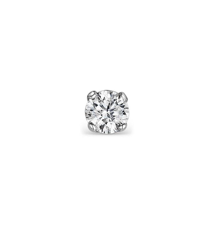 Single Stud Diamond Earring 0.07ct Premium Quality in 9KW Gold - 2.5mm