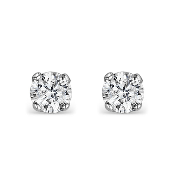Diamond Earrings 0.20CT Studs Premium Quality in 18K White Gold - 3mm - image 1