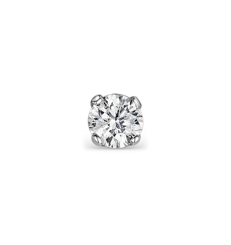Single Stud Diamond Earring 0.20ct Premium Quality 18KW Gold - 3.8mm