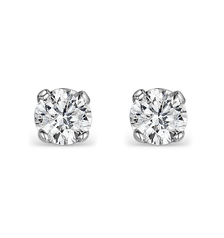Diamond Earrings 0.30CT Studs H/SI Quality in Platinum - 3.4mm