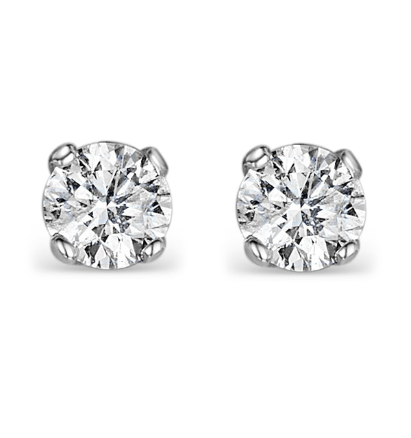 Diamond Earrings 1.00CT Studs Premium Quality in 18K White Gold 5.1mm - image 1