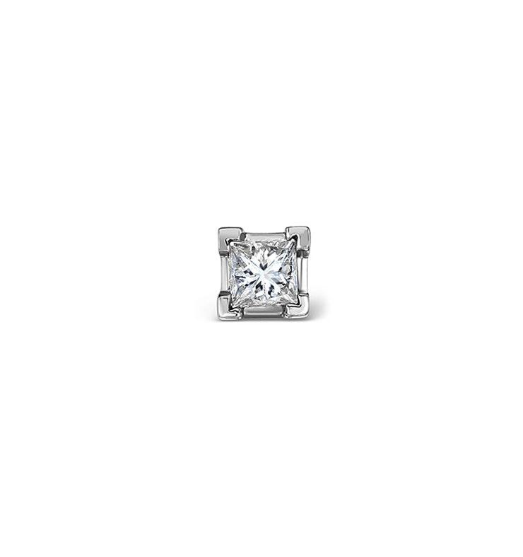 Single Stud Princess Diamond Earring 0.15ct H/Si in 18KW Gold - 3mm