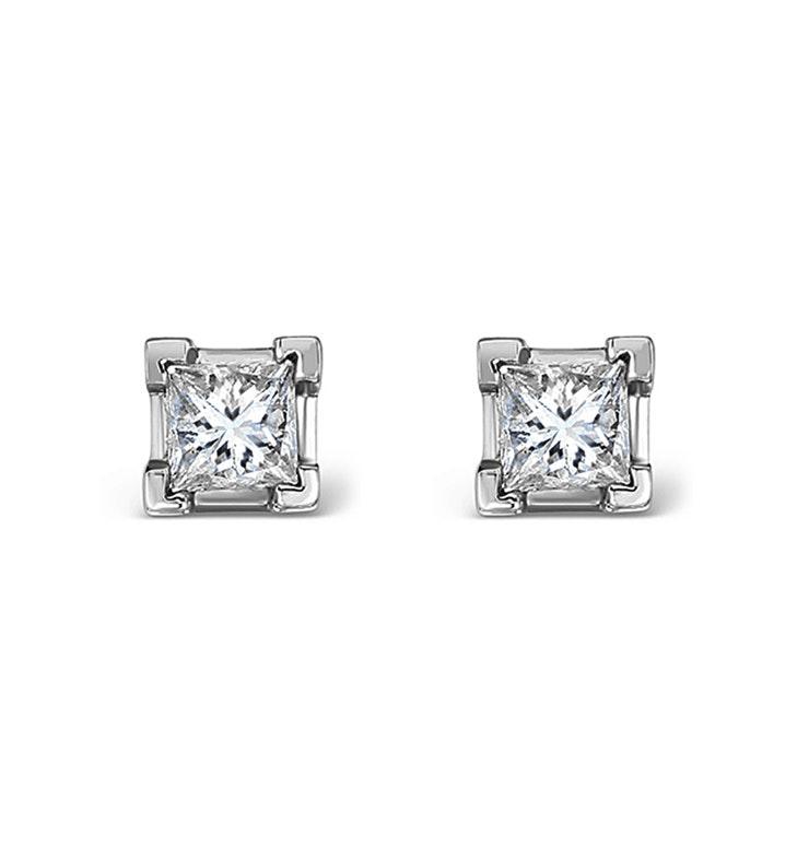 Platinum Princess Diamond Earrings - 0.30CT - G/VS - 3mm