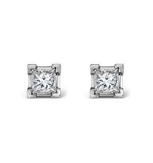 18K WHITE GOLD PRINCESS DIAMOND EARRINGS - 0.30CT - H/SI - 3MM
