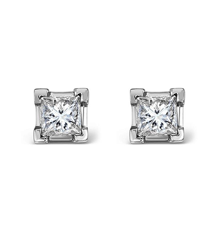 Platinum Princess Diamond Earrings - 0.50CT - H/SI - 3.4mm