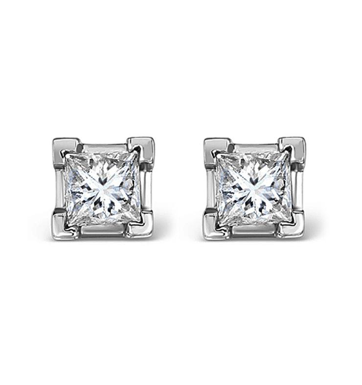 Platinum Princess Diamond Earrings - 0.66CT - H/SI - 3.8mm
