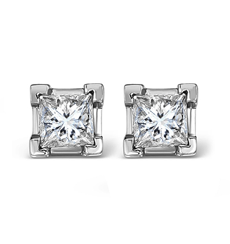 Platinum Princess Diamond Earrings - 1CT - H/SI - 4.8mm