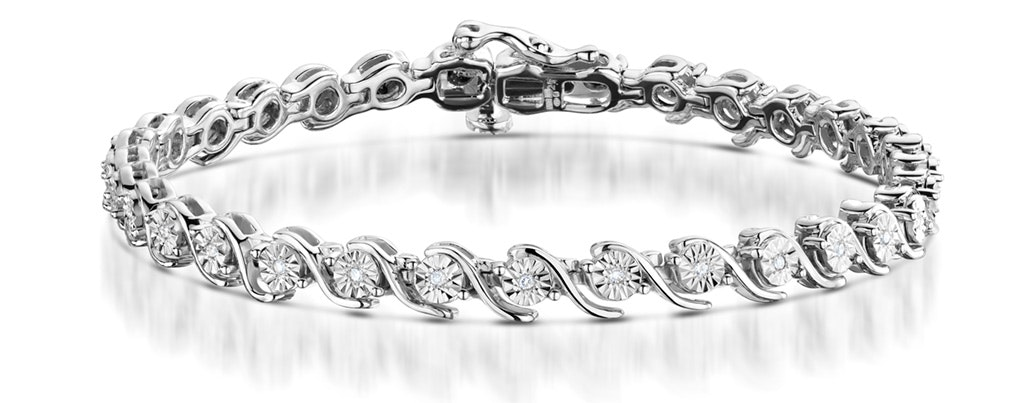 0.19ct Diamond and Silver Twist Bracelet - UD3241