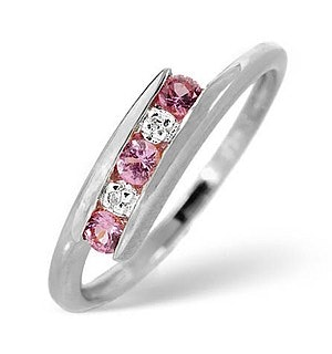 9K White Gold Diamond and Pink Sapphire Ring