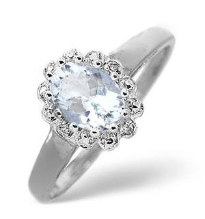 Aquamarine 0.70CT And Diamond 9K White Gold Ring