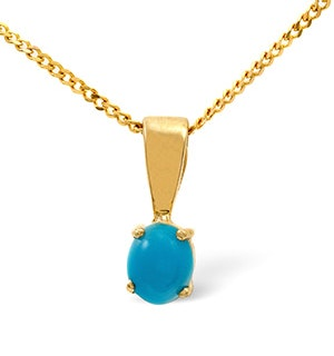 Turquoise 5 x 4mm 9K Yellow Gold Pendant