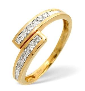 Diamond 0.20CT 9K Yellow Gold Cross-Over Ring