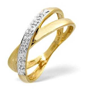 Diamond 0.05CT 9K Yellow Gold Cross-Over Ring