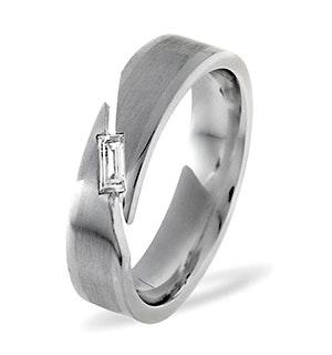 Mens 0.07ct H/Si Diamond 18K White Gold Dress Ring