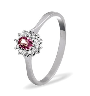 9K White Gold Diamond Pink Sapphire Ring 0.06ct A4301