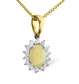 Opal 7 x 5mm And Diamond 9K Gold Pendant