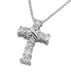 18K Gold Diamond Pave Cross (0.15ct)