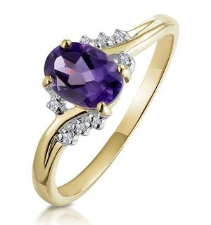 Amethyst 0.68ct And Diamond 9K Gold Ring