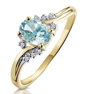 Aquamarine 0.70CT And Diamond 9K Yellow Gold Ring