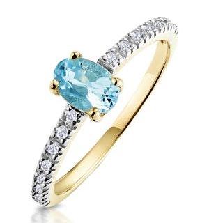 Aquamarine 0.35CT And Diamond 9K Yellow Gold Ring