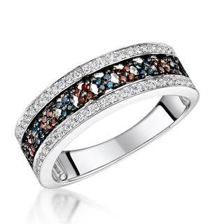 Stellato Collection Multi Colour Diamond Ring 0.23ct in 9K White Gold