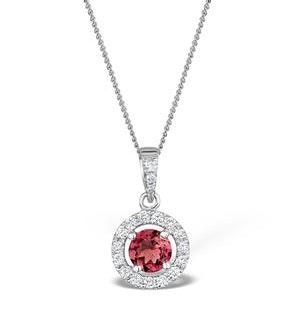 Pink Tourmaline 0.50CT and Diamond Halo Pendant 18K Gold FR21