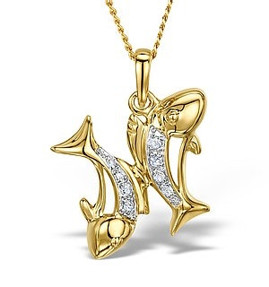 9K Gold Diamond Pisces Pendant 0.05ct