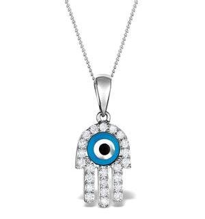 0.32ct Diamond and 9K White Gold 'Evil Eye' Hamsa Pendant