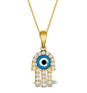 0.32ct Diamond and 9K Gold 'Evil Eye' Hamsa Pendant