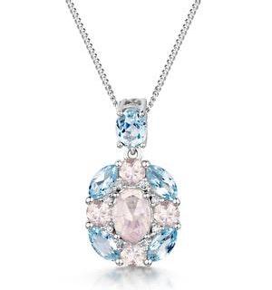 Rose Quartz Blue Topaz and Diamond Stellato Pendant 9K White Gold