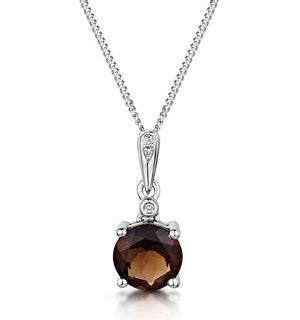 Stellato Smokey Quartz and Diamond Necklace in 9K White Gold