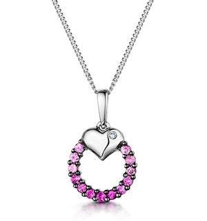Pink Sapphire and Diamond Stellato Pendant in 9K White Gold