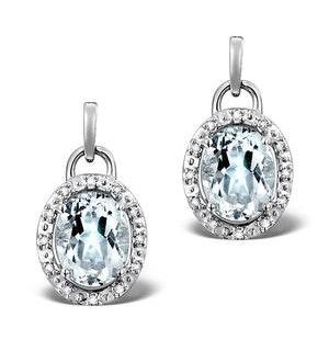 Aquamarine 3.69CT And Diamond 9K White Gold Earrings