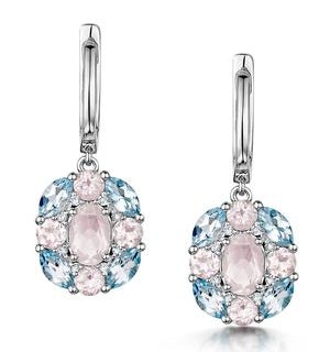 Rose Quartz Blue Topaz and Diamond Stellato Earrings in 9K White Gold