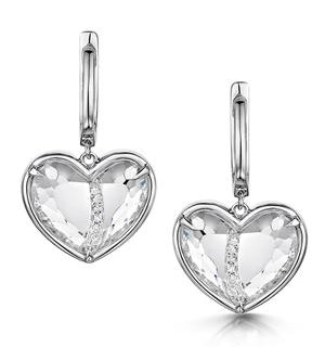 Quartz and Diamond Stellato Earrings 0.05ct in 9K White Gold