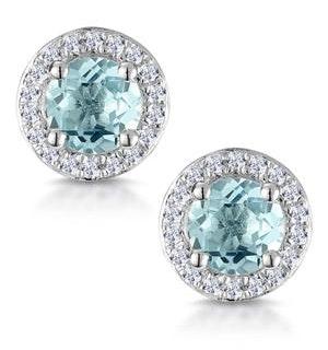 0.69ct Aquamarine and Diamond Halo Stellato Earrings in 9K White Gold