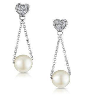 Pearl and 0.05ct Diamond Heart Earrings - Stellato Collection