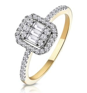 0.40ct Halo Baguette Diamond Ring Asteria Collection in 18K Gold