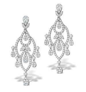 Diamond Pyrus Drop Chandelier Earrings 5ct in 18K White Gold P3402