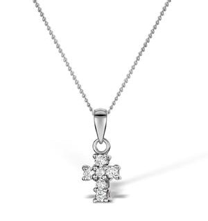 Diamond 0.10ct 18K White Gold Cross Pendant - RTC-R3284Y