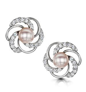 White Topaz and Lilac Freshwater Pearl Tesoro Earrings in 925 Silver
