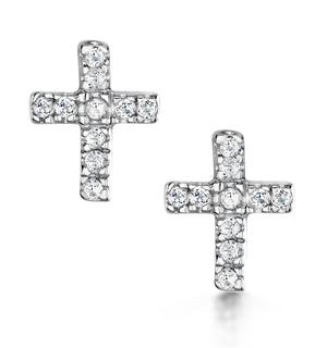 Tesoro Collection White Topaz Cross Earrings in 925 Silver