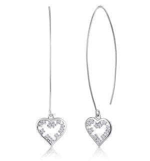 White Topaz Heart Threader Earrings in Silver - Tesoro Collection