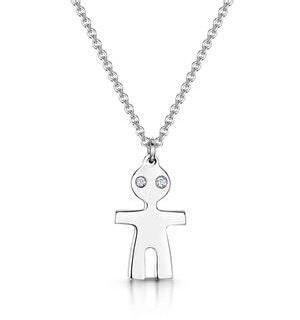 Allura Collection Boy Design Diamond Necklace 0.02ct in 925 Silver