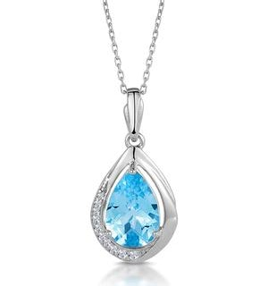 Silver Teardrop Blue Topaz and White Topaz Necklace -Tesoro Collection