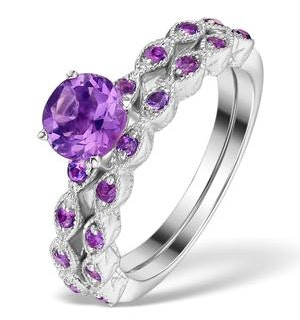 Stacking Ring Set Amethyst in Sterling Silver - UT33228